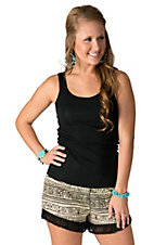Vintage Havana Women's Ivory and Black Tribal Print with Fringe Shorts