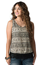 Vintage Havana Women's Ivory & Black Tribal Print with Fringe Trim Tank