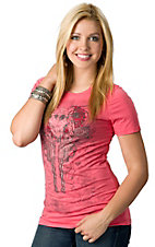 R. Rouge® Women's Coral with Black Winged Pistols, Skull and Roses Embellished Short Sleeve Tee