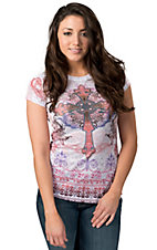 R. Rouge® Women's White with Pink and Purple Cross and Rhinestones Short Sleeve Embellished Tee
