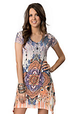 R. Rouge® Ladies White, Purple and Orange Sublimation with Rhinestones Short Sleeve Dress