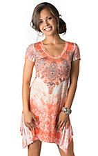 R. Rouge® Women's Orange Floral and Pixels Design with Rhinestones V-Neck Short Sleeve Dress