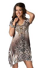 R. Rouge® Women's Brown and Gray Embellished V-Neck Short Sleeve Dress