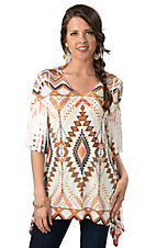 R. Rouge® Women's Cream, Orange and Brown Tribal 3/4 Tunic Fashion Top