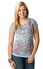 R. Rouge® Women's Turquoise with Aztec and Paisley Print Short Sleeve Embellished Burnout Tee