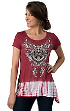 R. Rouge® Women's Red and White Tie Dye with Black Scrolling Short Sleeve Fashion Top
