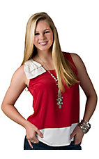 Fashion Spy® Game Day™ Ladies Red with White and Bow Sleeveless Fashion Top