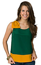 Fashion Spy® Game Day™ Ladies Green with Gold and Bow Sleeveless Fashion Top