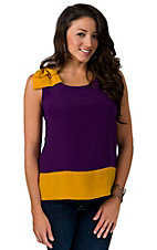 Fashion Spy® Game Day™ Ladies Purple with Gold and Bow Sleeveless Fashion Top