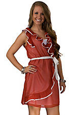 Fashion Spy® Game Day™ Ladies Texas Orange with White Ruffle Tie Sheer Sleeveless Dress