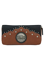 Nocona� Ladies River Black & Sienna Brown with Floral Concho and Rhinestones Wallet