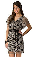Fashion Spy® Women's Silver & Black Lace Short Sleeve Dress