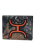 HOOey Bifold Camo Canvas with Orange Cowboy Logo Overlay Wallet