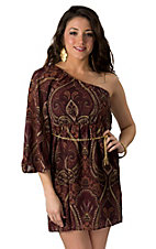 Fashion Spy® Maroon & Rust Paisley Print One Shoulder Dress
