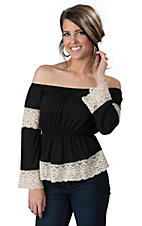 Double Zero Women's Black with Cream Crochet Off Shoulder 3/4 Sleeve Top