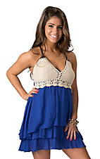 Double Zero Women's Royal Blue with Cream Crochet Sleeveless Dress