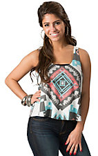 Double Zero Women's Grey Aztec Print Racer Back Tank