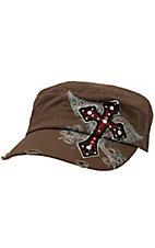 M&F® Brown with Offset Winged Cross Military Style Cap