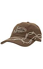 Justin Boots® Brown with Tan Barbwire and Logo Cap