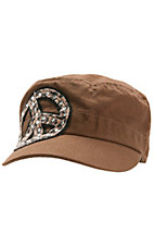 M&F® Brown w/ Leopard Peace Sign & Crystals Military Style Cap