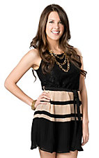 Fashion Spy® Women's Black and Tan with Lace Sleeveless Dress
