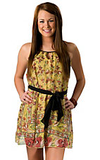 Fashion Spy® Women's Mustard Yellow Floral Print Sleeveless Dress