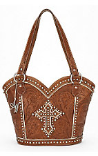 American West® Ladies Boot Scoot Boogie Brown with Studded Cross Zip Top Handbag