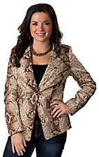 Karlie® Women's Tan and Brown Snakeskin Print Long Sleeve Jacket