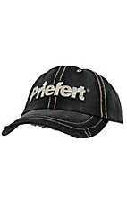 Priefert Distressed Black with Tan Logo Cap