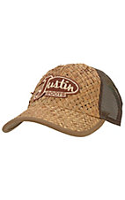 Justin Boots® Tan Woven Straw with Brown Mesh Back Logo Cap