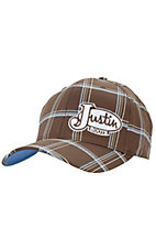 Justin Boots® Brown Plaid Logo Flex Fit Cap