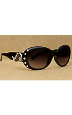 Blazin Roxx® Women's Black with Silver Wings and Clear Crystals Sunglasses