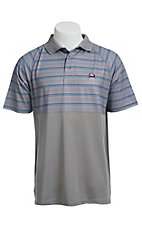 Cinch Mens Grey Stripe Tech Polo
