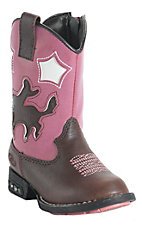 Roper® Infants Brown & Pink Bronc Rider Light Up Western Boots