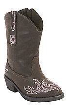 Roper® Infants Brown w/ Pink Winged Horseshoe Embroidery Western Fashion Boots