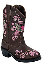 Roper® Infants Brown w/ Pink Embroidereded Design  Western Fashion Boots