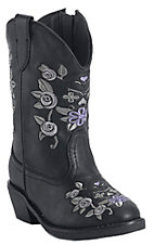 Roper® Infants Black w/ Purple & Grey Floral Embroidery Western Fashion Boots