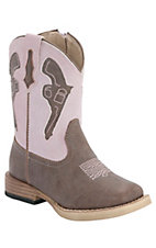 Roper® Infants Brown w/ Pink Pistol Top Square Toe Western Boots