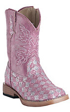 Roper® Infants Pink Checked Glitter Square Toe Western Boots