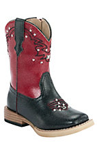 Roper® Infants Black w/ Red Studded Top Square Toe Western Boots