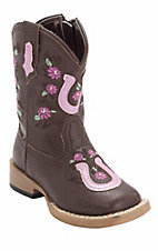 Roper® Infants Chocolate w/ Pink Horseshoe & Flowers Square Toe Western Boots