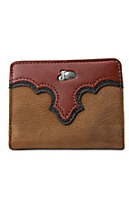 Justin® Copper Brown Bi-Fold Wallet with Flap and Metal Logo 17353216