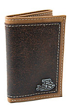 Justin® Bent Rail™ Dark Brown with Light Brown Edge & Thick Stitch Tri-Fold Wallet