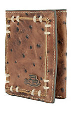 Justin® Bent Rail™ Brown Ostrich Print with Thick Stitch Tri-Fold Wallet