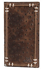 Justin® Bent Rail™ Brown Ostrich Print with Thick Stitch Rodeo/Checkbook Wallet 1752102