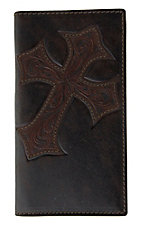 Justin® Bent Rail™ Dark Brown w/ Diagonal Cross Mens Rodeo Wallet/Checkbook Cover