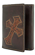 Justin® Chocolate Brown with Tooled Cross Tri-Fold Wallet