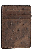 Justin® Bent Rail™ Brown Ostrich Print Money Clip w/ Bottle Opener