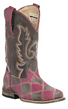 Roper Kids Brown & Pink Patchwork w/ Brown Top Square Toe Western Boots