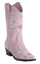 Roper® Rockstar™ Kids Pink w/ Floral Embroidery Pointed Toe Western Fashion Boots